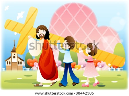 Happy Christian - religion christianity - stock vector
