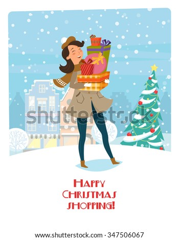 Happy Christmas shopping. Vector illustration with women and gifts. Bright banner on the background of the Christmas city and Christmas tree. Preparing for the holiday, new year's vanity. - stock vector
