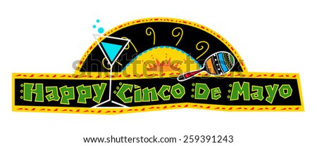Happy Cinco de Mayo Banner - Mexican art style Cinco de Mayo banner made with bold colors includes decorative text and Mexican elements on a black background. Eps10 - stock vector