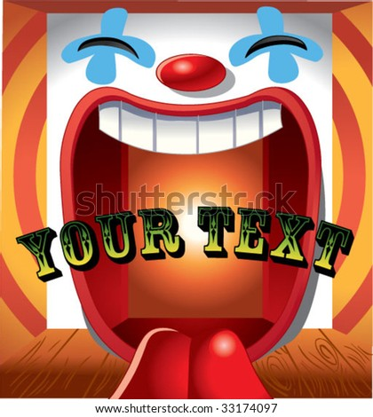 happy clown background with text on center - stock vector