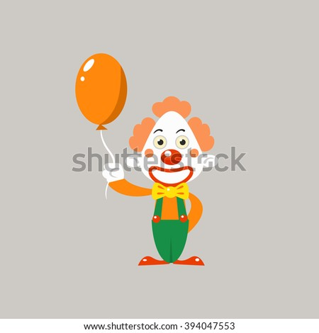 Happy Clown Holding Balloon Simplified Isolated Flat Vector Drawing In Cartoon Manner - stock vector