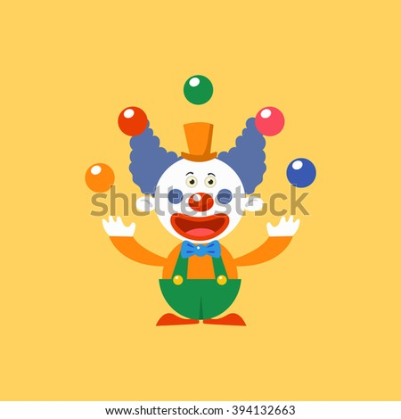 Happy Clown Juggling Simplified Isolated Flat Vector Drawing In Cartoon Manner - stock vector