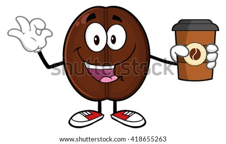 Happy Coffee Bean Cartoon Mascot Character Holding A Coffee Cup And Gesturing Ok. Vector Illustration Isolated On White - stock vector