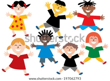 Happy colorful different children from all over the world jumping around  - stock vector