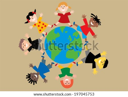 Happy colorful different children from all over the world jumping with arms out around planet earth - stock vector