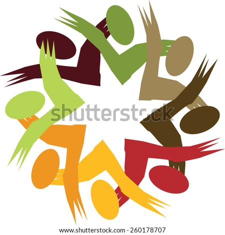happy colorful employees & executives unity & diversity - vector graphic. This illustration also represents students community, workers union, children playing, excited people, friendship, meetings - stock vector