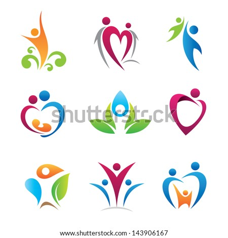 Happy colorful people - stock vector