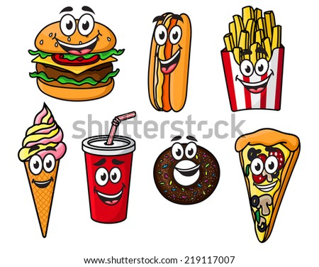 Happy colorful takeaway cartoon food with cute smiling faces including a cheeseburger, hot dog, French fries, ice cream cone, soda, bagel or doughnut and slice of pizza - stock vector
