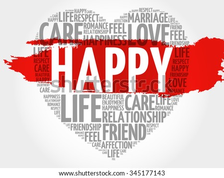 Happy concept heart word cloud - stock vector