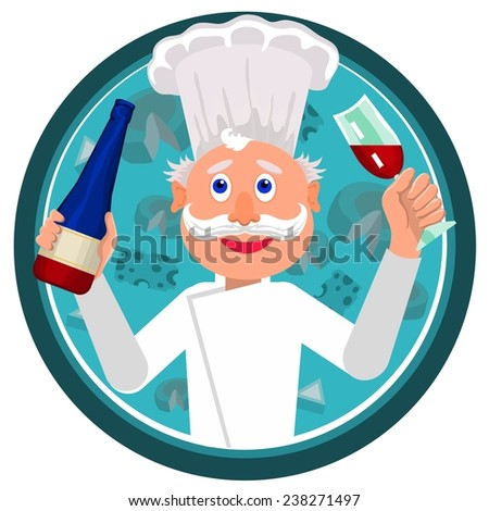 happy cook is treated with wine after work  - stock vector