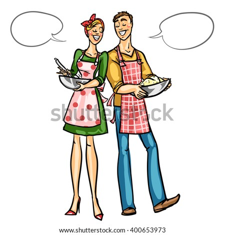 Happy couple cooking together isolated on white - stock vector