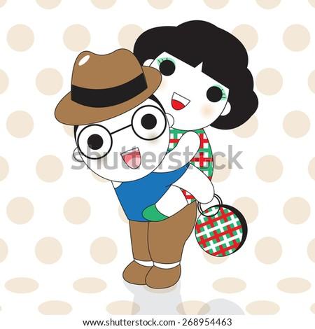 Happy Couple Having Fun Piggyback Ride On Dot Background illustration - stock vector