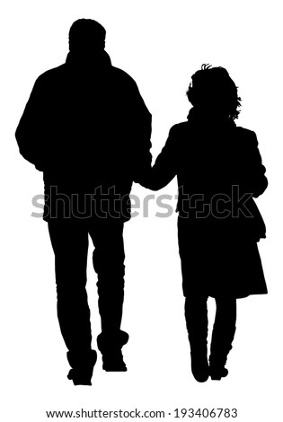 Happy couple holding hands walking vector silhouette isolated on white background. - stock vector