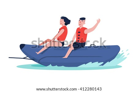 Happy couple ride on a banana boat in the sea. Perfect summer vacation. Summer water sports.  - stock vector