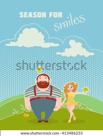 Happy couple standing on the meadow grass. Loving and smiling people with birds. Vector flat style summer postcard. - stock vector