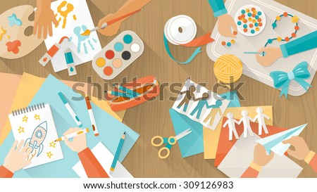 Happy creative kids playing, painting, cutting paper, sketching, hands top view, education and enjoyment concept - stock vector