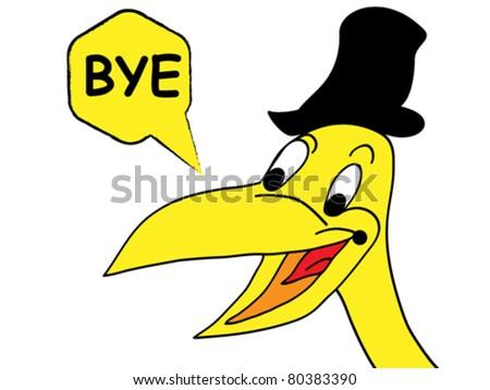 happy crow bye - stock vector