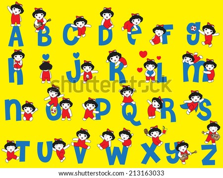 Happy Cute Girls Character Alphabet illustration set - stock vector
