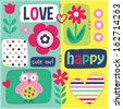 happy cute owl love vector invitation - stock vector