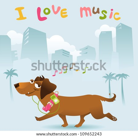 Happy dachshund walking in the city - stock vector