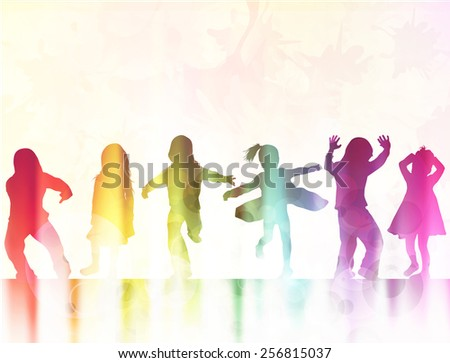 happy dancing children silhouettes together - stock vector