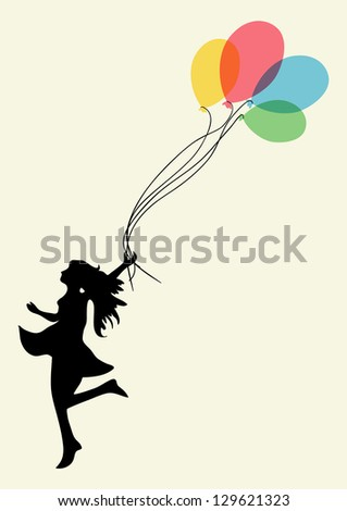Happy dancing woman with floating balloons. EPS10 file version. This illustration contains transparencies and is layered for easy manipulation and custom coloring - stock vector