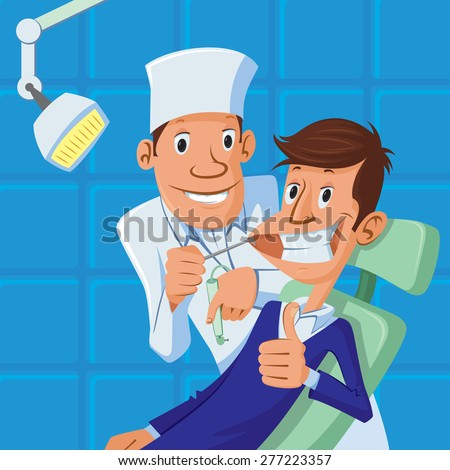 happy dentist and patient in dental chair, both are smiling, patient making a thumb up - stock vector
