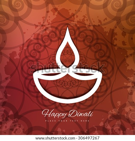 Happy Diwali beautiful card artistic diya colorful grunge vector - stock vector