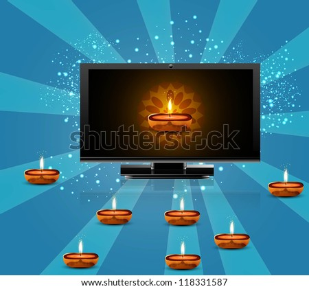 Happy diwali beautiful led tv screen blue colorful background vector - stock vector