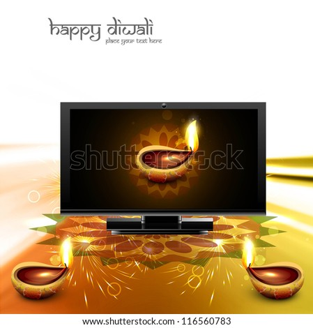 Happy diwali beautiful led tv screen celebration golden shiny colorful background vector - stock vector