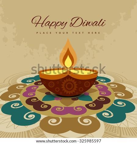 Happy diwali beautiful rangoli card of hindu festival design colorful background - stock vector