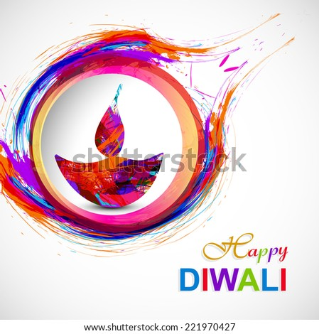 Happy Diwali diya card artistic grunge colorful creative design  - stock vector