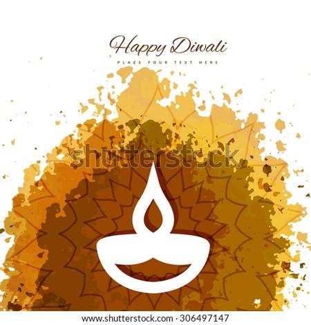 Happy Diwali diya card artistic grunge colorful vector background - stock vector