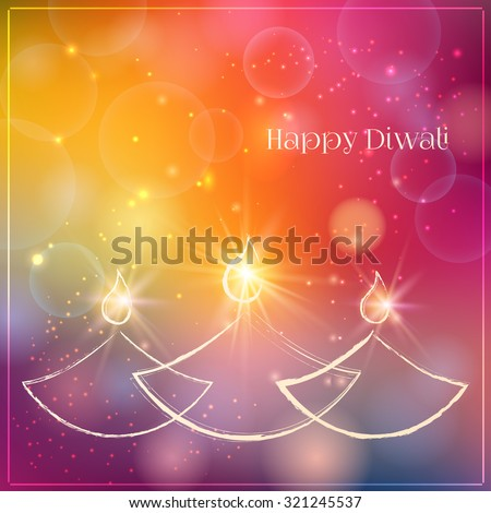 Happy Diwali festive background with stylized oil lamps. Happy Diwali Card. Vector illustration - stock vector