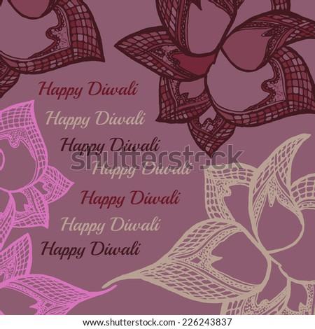 Happy Diwali greeting card. Illustration of Indian festival Diwali - stock vector
