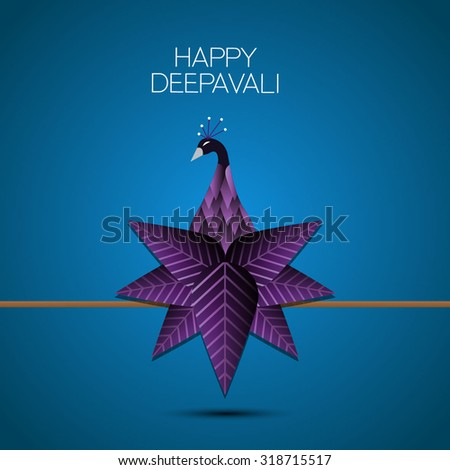 happy diwali peacock - stock vector