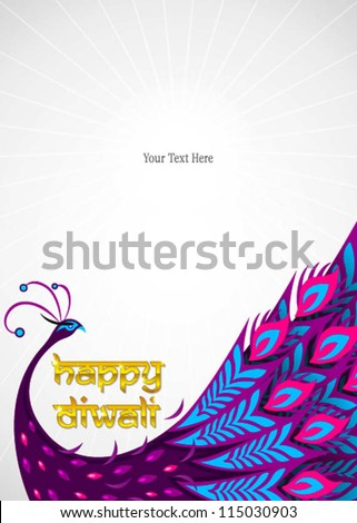 happy diwali peacock frame - stock vector