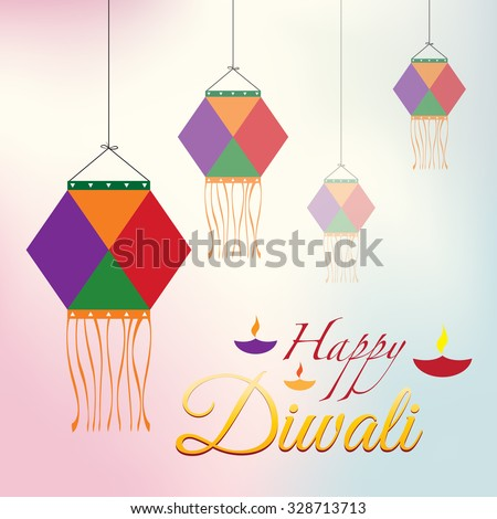 Happy Diwali Poster with Kandil - stock vector
