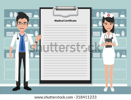 Happy doctor and nurse character design showing blank clipboard sign for presentation - vector illustration - stock vector