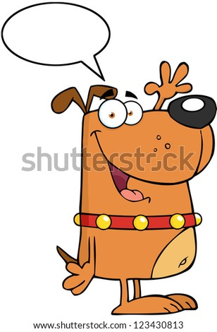 Happy Dog Cartoon Character Waving For Greeting With Speech Bubble - stock vector