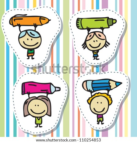 Happy doodle kids with pen, pencil and paintbrush - stock vector