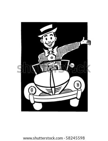 Happy Driver 2 - Retro Clip Art - stock vector
