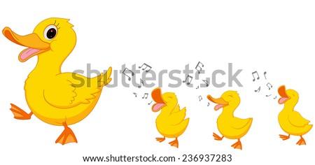 Happy Duck family cartoon  - stock vector