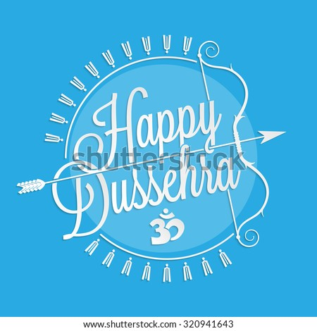 Happy Dussehra lettering for your greeting card design - stock vector