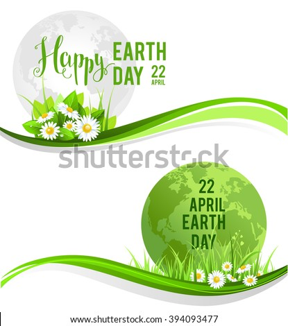 Happy earth day banners for design banner,ticket, leaflet and so on.Template page for Earth day. Holiday card. Green globe and flowers and grass. - stock vector