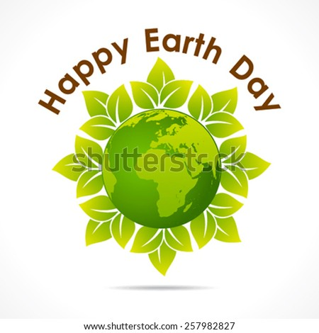 happy earth day greeting design vector - stock vector
