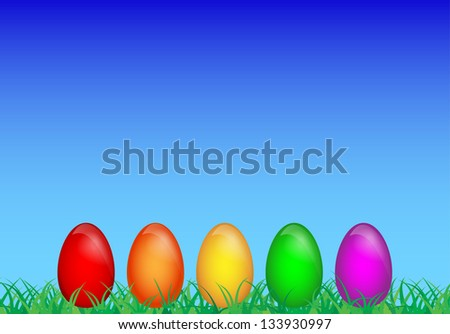 Happy Easter background. Multicolored eggs over the grass and blue sky - stock vector