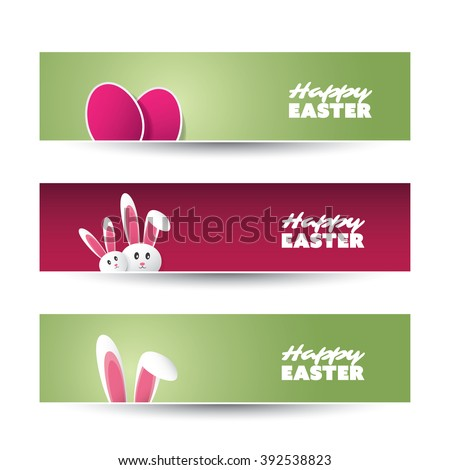 Happy Easter Banner, Header Set Design With Eggs And Bunnies - stock vector