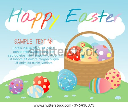 Happy Easter, Basket with color Easter eggs on background, Greeting cards Easter eggs, Happy Easter banners with easter eggs in a basket, Vector illustration - stock vector