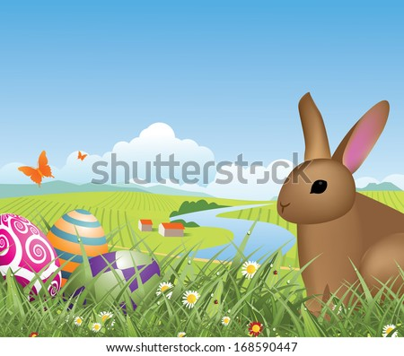 Happy Easter bunny and eggs in the grass with spring farm background. EPS 10 vector, grouped for easy editing. No open shapes or paths. - stock vector